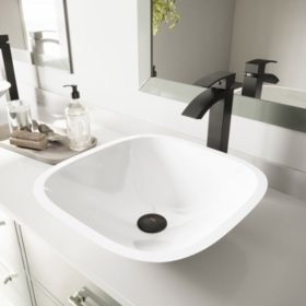 VIGO Square Shaped White Phoenix Stone Vessel Bathroom Sink