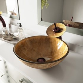Vigo Amber Sunset Gl Vessel Sink And Waterfall Faucet Set Oil Rubbed Bronze