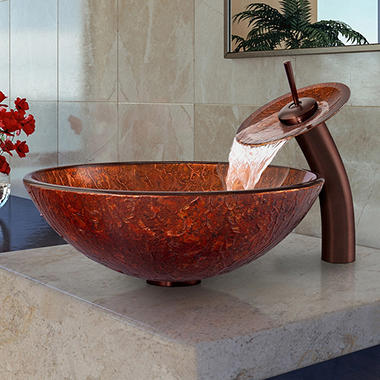 VIGO Mahogany Moon Glass Vessel Sink and Waterfall Faucet Set - Oil-Rubbed Bronze