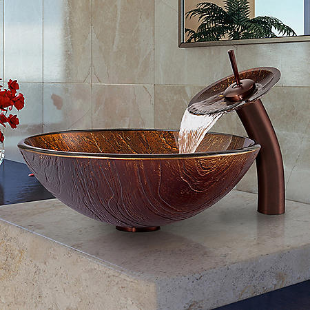 VIGO Kenyan Twilight Glass Vessel Sink and Waterfall Faucet Set - Oil-Rubbed Bronze
