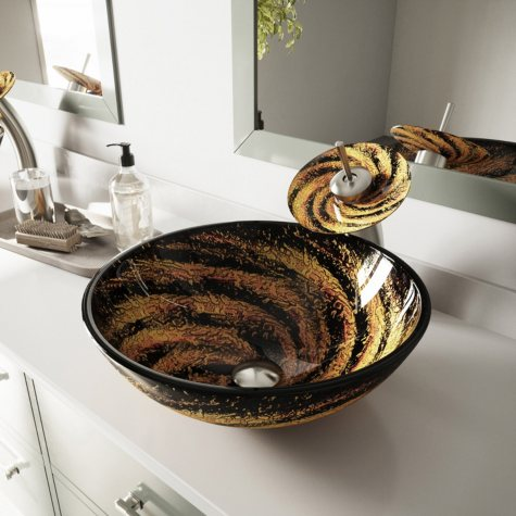 VIGO Northern Lights Glass Vessel Sink and Waterfall Faucet Set - Brushed Nickel