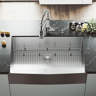 VIGO 36-inch Farmhouse Stainless Steel Kitchen Sink with Rounded Edge, Grid and Strainer
