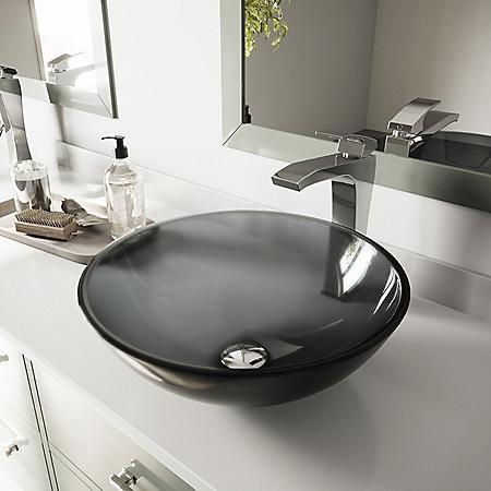 VIGO Sheer Black Glass Vessel Bathroom Sink