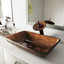 VIGO Rectangular Russet Glass Vessel Bathroom Sink