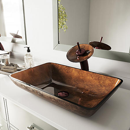 VIGO Rectangular Russet Glass Vessel Sink and Waterfall Faucet Set - Oil-Rubbed Bronze