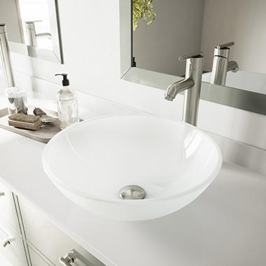 VIGO White Frost Vessel Sink and Faucet Set - Brushed Nickel