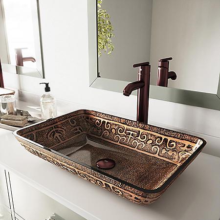 VIGO Rectangular Golden Greek Glass Vessel Sink and Faucet Set - Oil-Rubbed Bronze