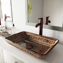 VIGO Rectangular Golden Greek Glass Vessel Sink and Faucet Set - Oil-Rubbed Bronze