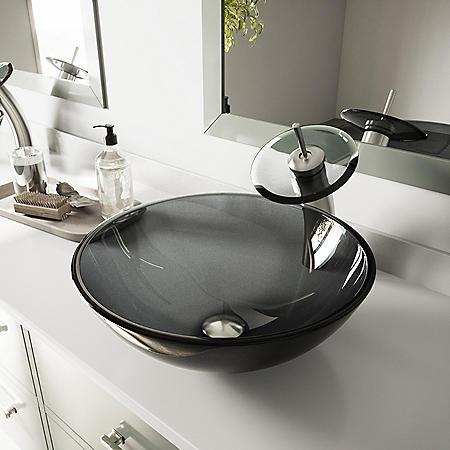 VIGO Sheer Black Glass Vessel Sink and Waterfall Faucet Set - Brushed Nickel