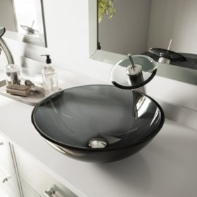 VIGO Sheer Black Glass Vessel Sink and Waterfall Faucet Set - Brushed Nickel