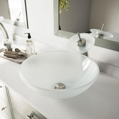 VIGO White Frost Glass Vessel Sink And Waterfall Faucet Set   Brushed Nickel