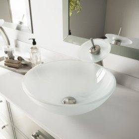 VIGO White Frost Glass Vessel Sink and Waterfall Faucet Set - Brushed Nickel