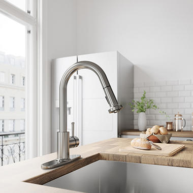 VIGO Harrison Stainless Steel Pull Down Spray Kitchen Faucet With Deck Plate