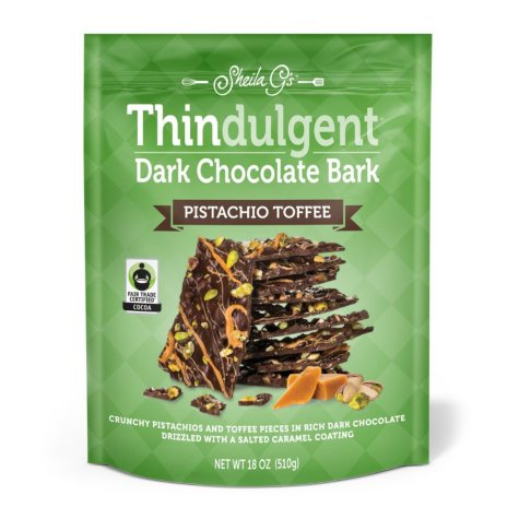 Sheila G.'s Thindulgent Dark Chocolate Pistachio Toffee Bark (18 oz.)