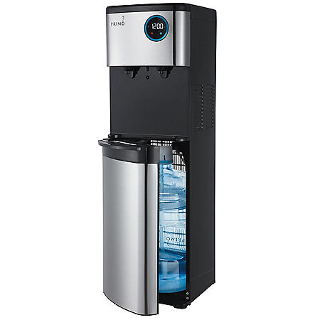 Primo Deluxe Bottom Loading Hot/Cold Water Dispenser with Touch Controls and Digital Display, Black with Stainless Steel