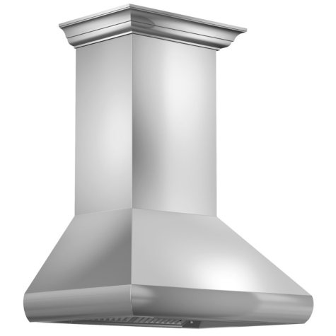"""ZLINE 42"""" 900 CFM Professional Wall Mount Range Hood in Stainless Steel with Crown Molding (587CRN-42)"""