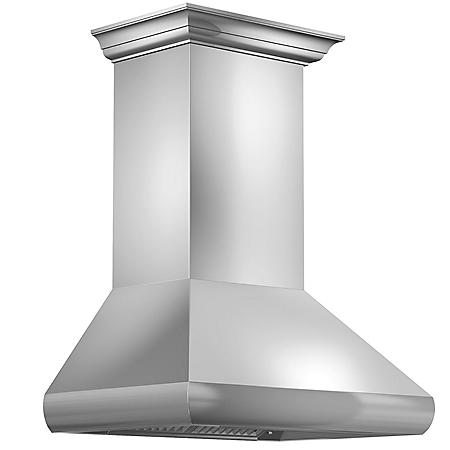 "ZLINE 48"" 900 CFM Professional Wall Mount Range Hood in Stainless Steel with Crown Molding (587CRN-48)"
