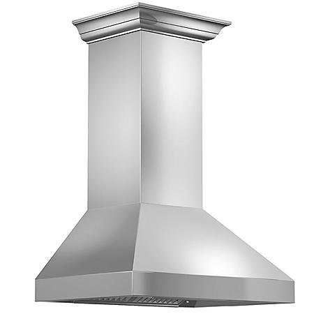 "ZLINE 30"" 900 CFM Wall Mount Range Hood in Stainless Steel with Crown Molding (597CRN-30)"
