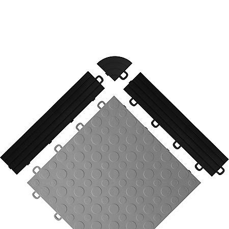 BlockTile - Interlocking Garage Floor Edges with Loops - Black - 12 Edges and 2 Corners