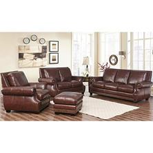 Palisades 100% Top-Grain Semi-Aniline Leather 4 Piece Set