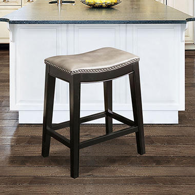 Cosmopolitan Leather Counter Stool, Grey