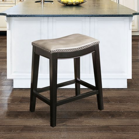 Cosmopolitan Leather Counter Stool, Grey
