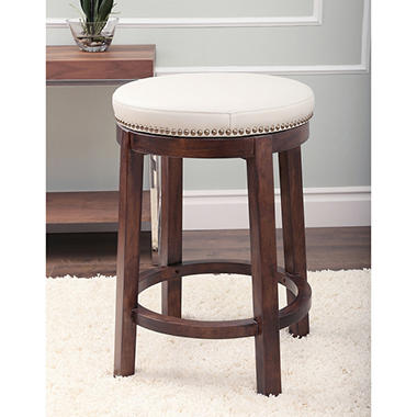 Cedric Round Swivel Leather Counter Stool Ivory Offline