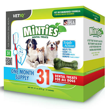 Vet IQ Minties Dental Treats for Dogs (27 oz., 31 ct.)