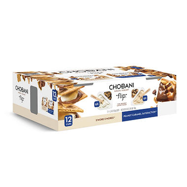 Chobani Flip Variety Pack, S'mores and Peanut Caramel Satisfaction (5.3 oz. cup, 12 ct.)