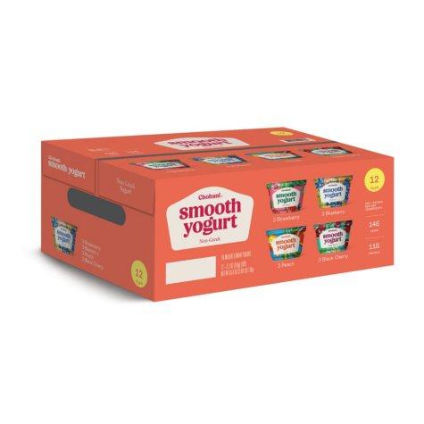 Chobani Smooth Yogurt 4-Flavor Variety Pack (5.3 oz. ea., 12 cups)