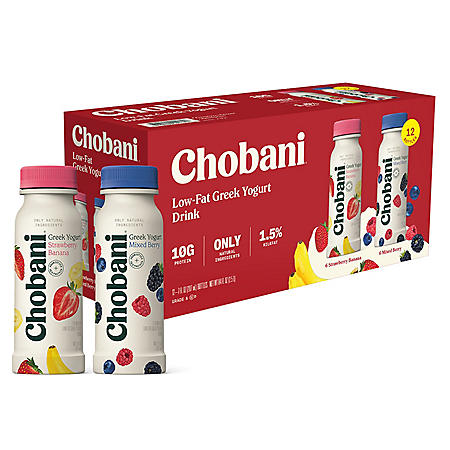 Chobani Low-Fat Greek Yogurt Drink Variety Pack (7 oz., 12 pk.)