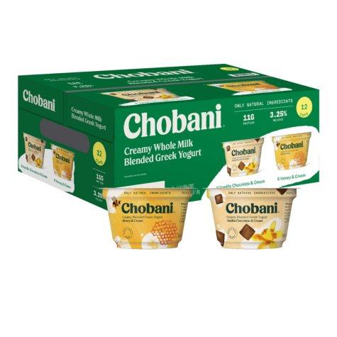 Chobani Whole Milk Greek Yogurt Variety Pack (12 pk.)