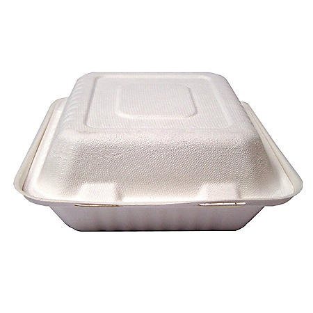 Earth-To-Go Pulp Compostable Bagasse 3-Compartment Clamshell, 200 ct. (Choose Your Size)
