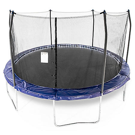 Skywalker Trampolines 15' Round Trampoline with Lighted Spring Pad - Blue