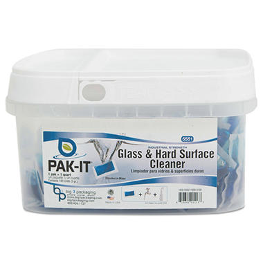 Pak-It - Glass & Hard-Surface Cleaner, Pleasant Scent -  100/Tub