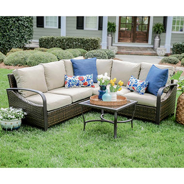 Harrison 4 Piece Outdoor Sectional With Sunbrella Fabric
