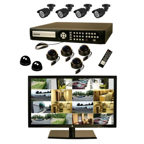 """Piczel 7012 16 CH Surveillance System with 1TB Hard Drive, 22"""" LED Monitor, 8 High Res Cameras, E-Mail, & 3G Monitoring"""