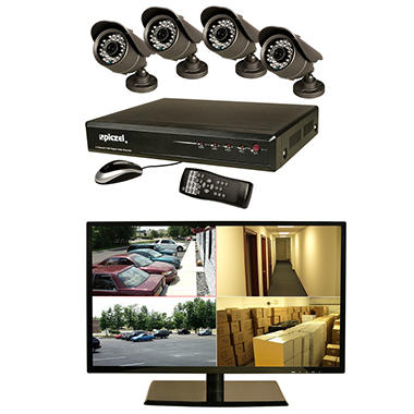 "Piczel 7009 4-Channel Surveillance System - 1TB Hard Drive, 18.5"" LED Monitor, 4 High-Res 600TVL Cameras"