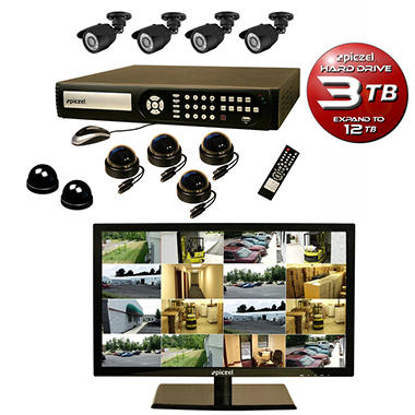 "Piczel 16 Channel Security System with 8 540 TVL Cameras, 3TB Hard Drive, and 22"" LED Monitor"
