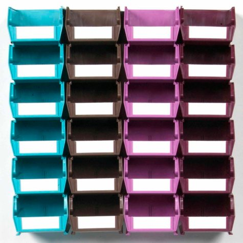 LocBin Wall Storage System with 24 Small Multi-Colored Bins