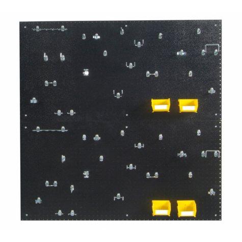 "24"" x 48"" DuraBoard Pegboard 2-Pack with 48 Hooks and 4 Bins (Black)"