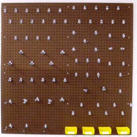 """Round Hole Commercial Pegboard 24"""" x 48"""" x 1/4"""" w/ 79 Hooks & 4 Bins"""
