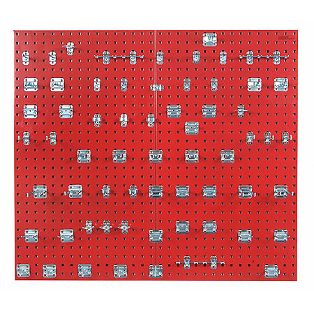 "24""x 42-1/2"" LocBoard Pegboard 2-Pack with 63 Hooks (Red)"