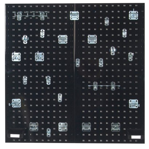"18"" x 36"" LocBoard Pegboard 2-Pack with 28 Hooks and 2 Bins (Black)"