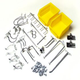 Pegboard Kit - 24 Hooks & 2 Bins