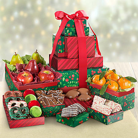 Deluxe Holiday Fruit and Chocolate 7-Box Gift Tower