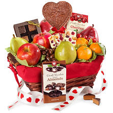 Happy Valentine's Day Fruit and Treats Basket