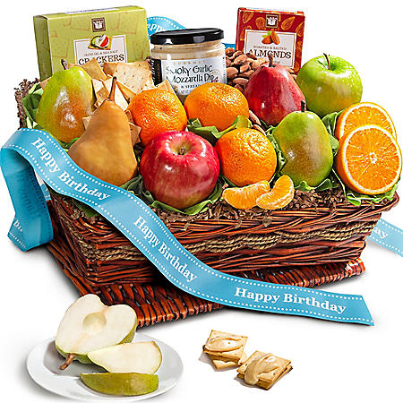 Happy Birthday Fruit and Cheese Gift Basket