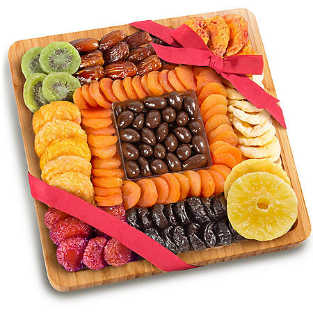 Festive Dried Fruit and Chocolate-Covered Almonds Gift Tray