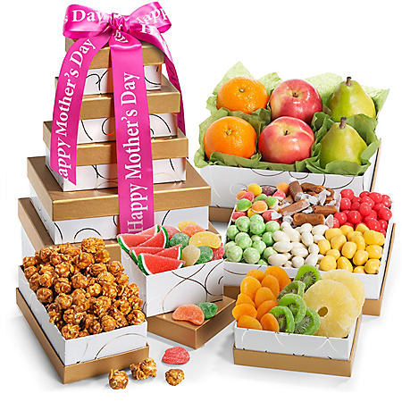 Spring Fruit and Sweets Gourmet Gift Tower with Mother's Day Ribbon